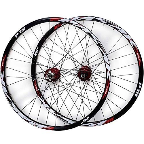 NS 26'/27,5'/29' Bicicleta Montaña Juego Ruedas Llanta Aleación Doble Pared Freno Disco Casete Cubo Liberación Rápida 7/8/9/10/11 Velocidad 32 Hoyos (Color : Red Hub Red Logo, Size : 29IN)