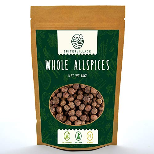 Spices Village Whole Allspice, All Natural Fresh Dried Spice Berries for Sauces, Soups, Curries, Pastries, Pickles, Jamaican Pimento Seasoning, Kosher, Gluten Free, Non GMO, Resealable Bulk Bag 8 Oz