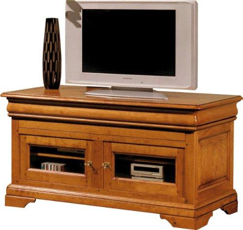 Destock Meubles Meuble TV/Hifi LCD Plasma merisier 2 portes vitrées 1 abattant