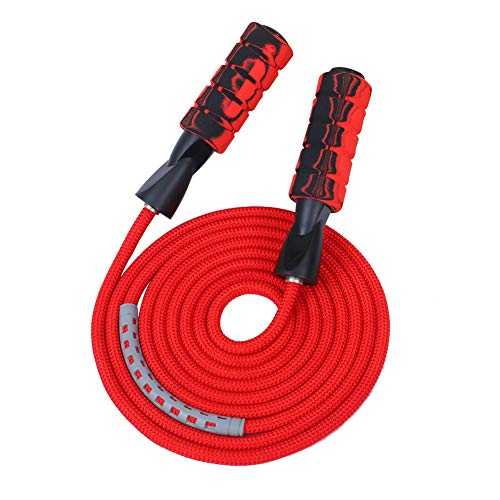 APICCRED Professional Double Ball Bearing Jump Rope Weighted Cotton Rope Adjustable Length,for Cardio, Endurance Training, Fitness Workouts, Jumping Exercise (red) …