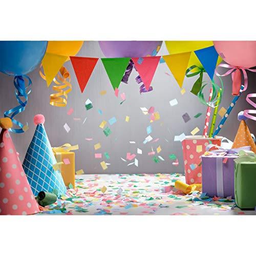 Cassisy 3x2m Vinilo Fondo de Fotografia Cumpleaños Decoraciones Interiores Globos de Colores Cajas de Regalo Papel picado Telón de Fondo Photo Booth Infantil Party Niños Photo Studio Props