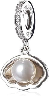 ATHENAIE 925 الفضة مطلي بلاتينوم آريل شل الأبيض تشيكوسلوفاكيا قلادة الخرز سحر