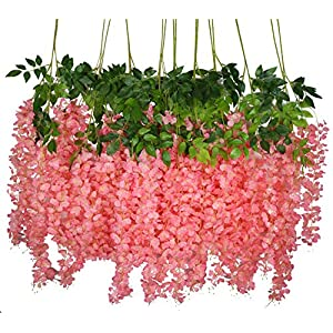 iWISTERIA 36 Pack 3.6FT Artificial Hanging Flowers Wedding Decoration Arch Greenery Vines Ceremony Backdrop Fake Wisteria Silk Party String Home Rattan Plants Bush Plastic Garland (Pink)