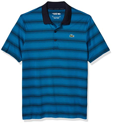 Lacoste Men's Sport Golf Striped Super Dry Polo Shirt, Mariner/Navy Blue, 4XL