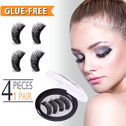 Magnetic Eyelashes, False Eyelashes Extensions No Glue Reusable 3D Mink Eyelashes Kit Natural Look Beauty Enhancer, Make-up Accessories, Black (Dual Magnets, 4 Pcs 1 Pair)