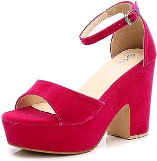 126786b92c90 Women s Open Toe Ankle Strap Block Heeled Wedge Platform Sandals