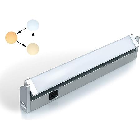 Réglette LED Orientable avec Interrupteur, Luminaire Sous Meuble Lumière Réglables pour Cuisine/Armoire/Placard/Escalier/Couloir 3000K 4000K 6000K (Court)