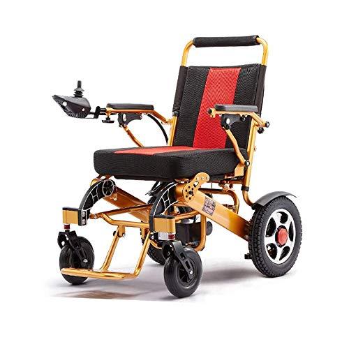 ZHANGYY Leichter Faltbarer kompakter elektrischer Rollstuhl Deluxe Leistungsstarker Elektromotor mit Zwei Motorhilfen