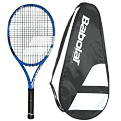 Full featured maneuverable, oversize racquet for intermediate players Babolat comfort from Woofer Grommet system in modern carbon fibre frame 105 head, 9.8 ounce strung, 27 inch long, 3 head heavy, 16x19 pattern Strung with Babolat SpiralTex syntheti...