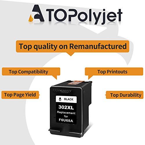 ATOPolyjet Remanufactured for HP 302 XL 302XL Cartucho de Tinta 1 Pack para Officejet 3830 3831 3832 3833 3834 4650 5230 Deskjet 3630 1110 2130 2132 3636 Envy 4527 4524 4520 4522 4523 (1 Negro)
