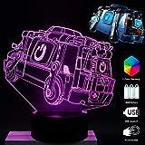 7 Color Lámpara Fortaleza Noche Reboot Van Estilo Diseño 3D Noche Luz Visual Bulbing Cambio con Cable USB para Regalos de Cumpleaños Decoración Lámpara Púrpura