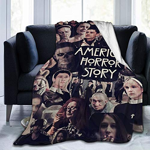 HADIHADI Single-Sided Printing Blanket for Couch, Sofa, Bed,Travel and Camping Pompom Fringe Blanket for All Season Lightweight 80 x 60inch