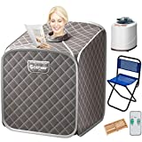 COSTWAY Portable Steam Sauna, 2L Folding Home Spa Sauna Tent for Weight Loss, Detox Relaxation at Home, Personal Sauna with 9 Temperature Levels, Timer, Remote Control, Foldable Chair (Gray)