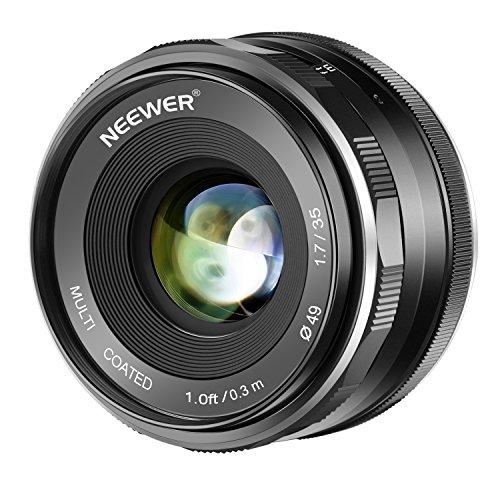 Neewer 35mm F1.7 APS-C-Objektiv mit großer Blende und manuellem Fokus Prime-Festobjektiv, kompatibel mit spiegellosen Kameras mit Canon EF-M EOS-M-Montage, Canon EOS M5 M6 M10 M50 M100 M200 usw.