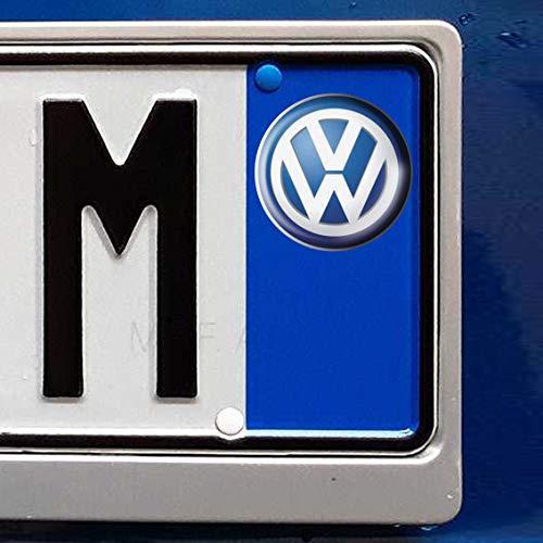 N. 2 - Adesivi resinati, effetto 3D - Stemma logo compatibile con targa auto volkswagen GOMMATO, kit da 2 pezzi - TARGA auto