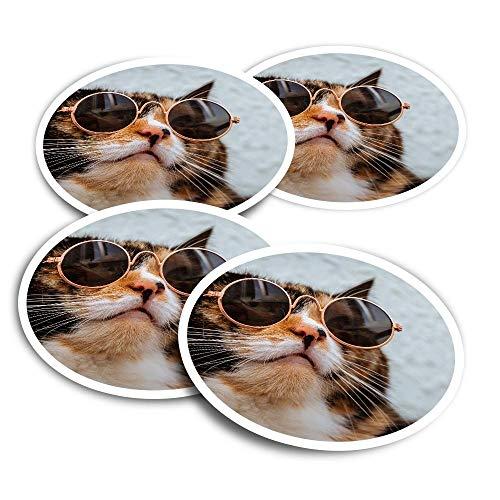 Pegatinas de vinilo (juego de 2) 10 cm – Ginger Tabby Cat con gafas de sol divertidas calcomanías para portátiles, tabletas, equipaje, reserva de chatarra, frigoríficos #16931