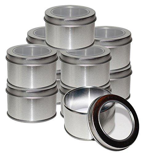 Kurtzy Latas Redondas de Metal Pequeñas (10 Pz) - 4 x 6.5cm Latas de Aluminio con Tapa - Cajas Metalicas para Cosméticos, Bálsamo Labial, Viajes - Set Contenedor Especias con Ventana Transparente