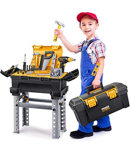 GeyiieTOYS Werkzeugkoffer Werkzeug Kinder Spielzeug Werkzeugkasten Handwerker Set Spielwerkzeug Geschenk ab 3 Jahre, 66 Stücke