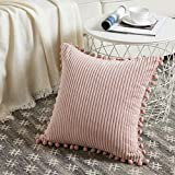 Fancy Homi Boho Pink Decorative Throw Pillow Covers with Pom-poms, Soft Corduroy Solid Square Cushion Cases Set for Couch Sofa Bedroom Car Living Room (18x18 Inch/45x45 cm, Blush Pink)