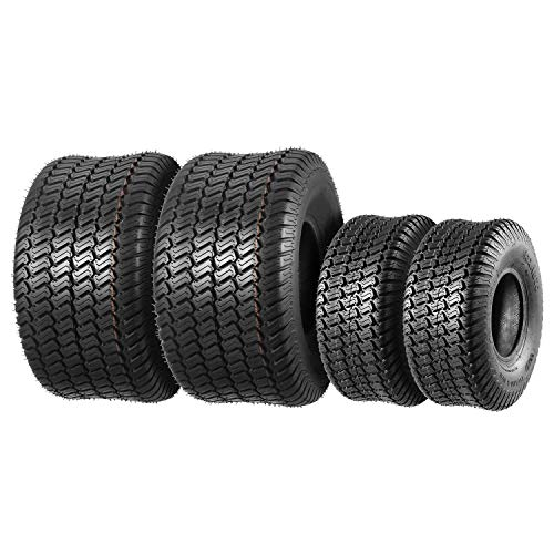 Set of 4 Lawn Mower Turf Tires 15x6-6 Front & 20x10-8 Rear,4PR,Tubeless