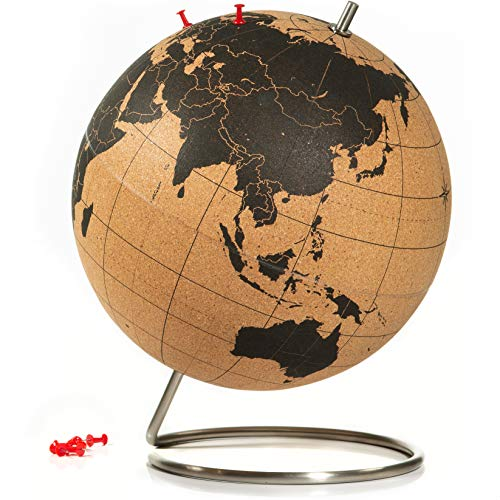 SUCK UK Corcho Bola Mundo | Decoración del Hogar-Globo terráqueo Grande, Color, Cork, 25x25x30 cm