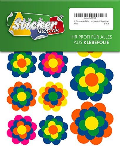 47 Stickers fleurs multicolores en 5 tailles, style rétro culte années 1970–sticker mural
