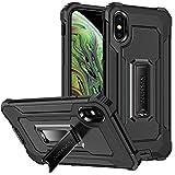 Hülle kompatibel für iPhone X Handyhülle,Dual-Layer TPU + PC Stabil Ständer Kickstand 360 Protection Magnetisch Stoßfestes Anti-Drop Schutzhülle für iPhone X Hardcase (Schwarz)