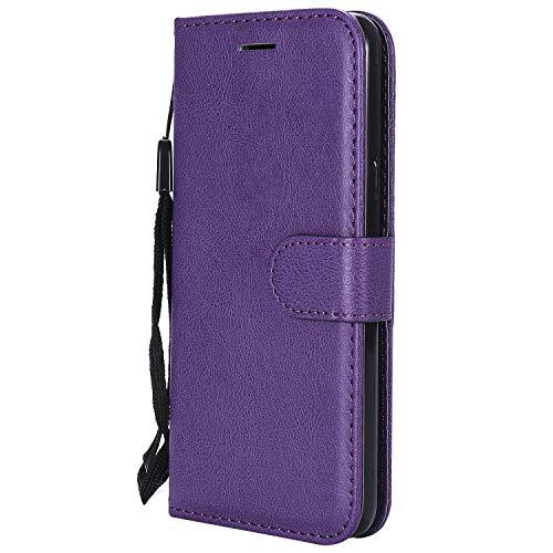 Hülle für LG Q6 / Q6+ (Q6 Plus) Hülle Handyhülle [Standfunktion] [Kartenfach] Tasche Flip Hülle Cover Etui Schutzhülle lederhülle flip case für LG Q6 / M700N - DEKT051116 Violett