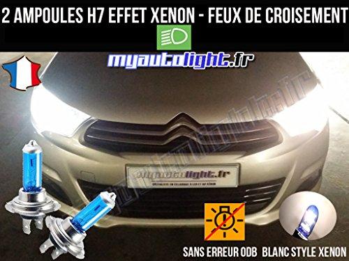 MyAutoLight- Pack ampoules H7 blanc xenon feux croisement-code pour C4 II