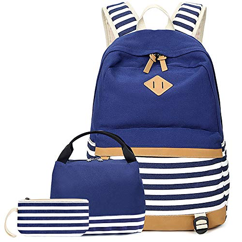 School Bags Backpack Set Teen Girls Bookbag with Lunch Box Bag and Pencil Case for 14inch Laptop - Blue Striped