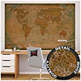 Poster – World Map Antique Style – Picture Decoration Globe Ancient Vintage Card Used Look Atlas Map Old School Image Photo Decor Wall Mural (55x39.4in - 140x100cm)