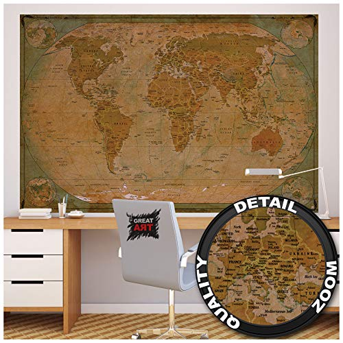 GREAT ART Poster � World Map Antique Style � Picture Decoration Globe Ancient Vintage Card Used Look Atlas Map Old School Image Photo Decor Wall Mural (55x39.4in - 140x100cm) Photo #8