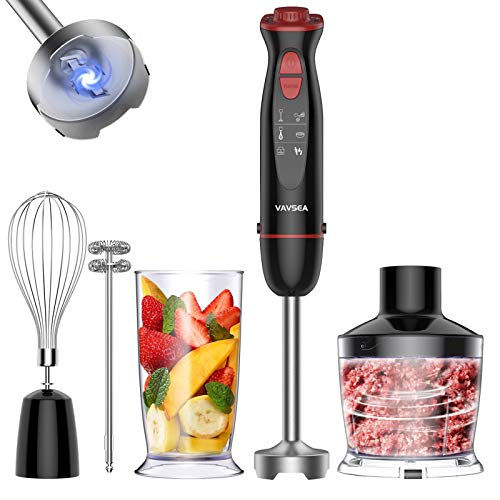 VAVSEA 5-in-1 Multi-function Immersion Hand Blender, Powerful 1000W 12-Speed Handheld Stick Blender with Stainless Steel Blades, with Chopper, Beaker, Whisk and Milk Frother for Baby Food/Smoothies/Puree, BPA Free