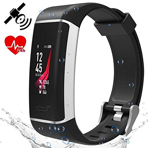 bestbeans Run-GPS 2021 Herzfrequenz Armband Tracker 24 Sportarten Multisport Wasserdicht Farb-LCD-Display Fitness Aktivität Schrittzähler Kalorien Herzfrequenz-Messer Schlaf-Analyse Wetter