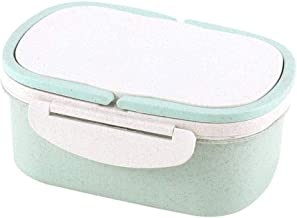 WCHCJ Insulated Lunch Box, Lunch BoxPortable Wheat Straw Double Layer Thermal Bento Lunch Box Food Storage Cont (Color : G...