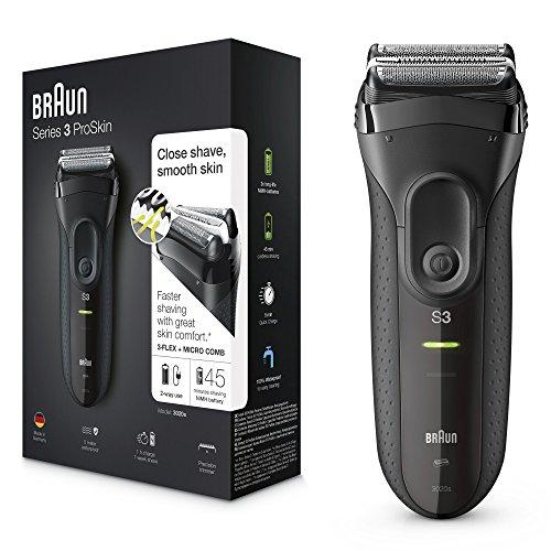 Braun Series 3 ProSkin 3020s Afeitadora Eléctrica Hombre,  Afeitadora Barba Inalámbrica y Recargable,  Máquina de Afeitar para Hombre,  Negro