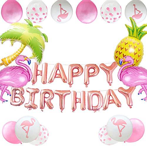 JeVenis 20er-Set Flamingo-Geburtstagsdekoration Flamingo-Geburtstagsballons Tropische Geburtstagsballons für die Luau Party Hawaiian Party