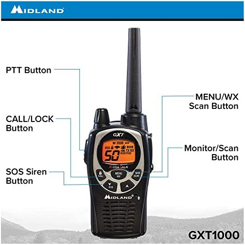 Midland 50 Channel Waterproof GMRS Two-Way Radio - Long Range Walkie Talkie with 142 Privacy Codes, SOS Siren, and NOAA… 4