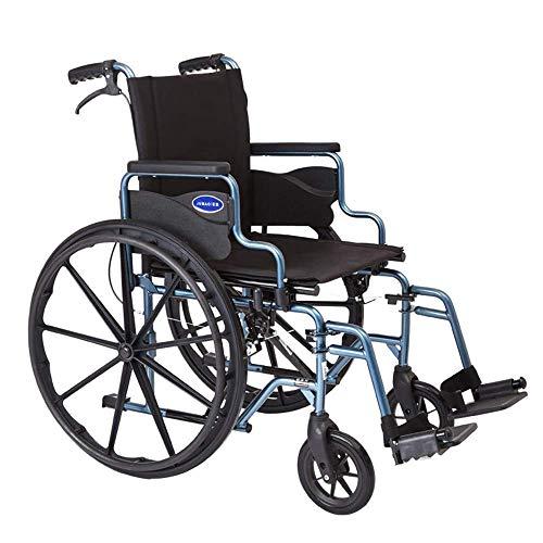 MJY Deluxe-Rollstühle Leichter, zusammenklappbarer, tragbarer Rollator, ergonomischer Handlauf mit Fußstützen-Handbremsen für behinderte und ältere Benutzer fgk