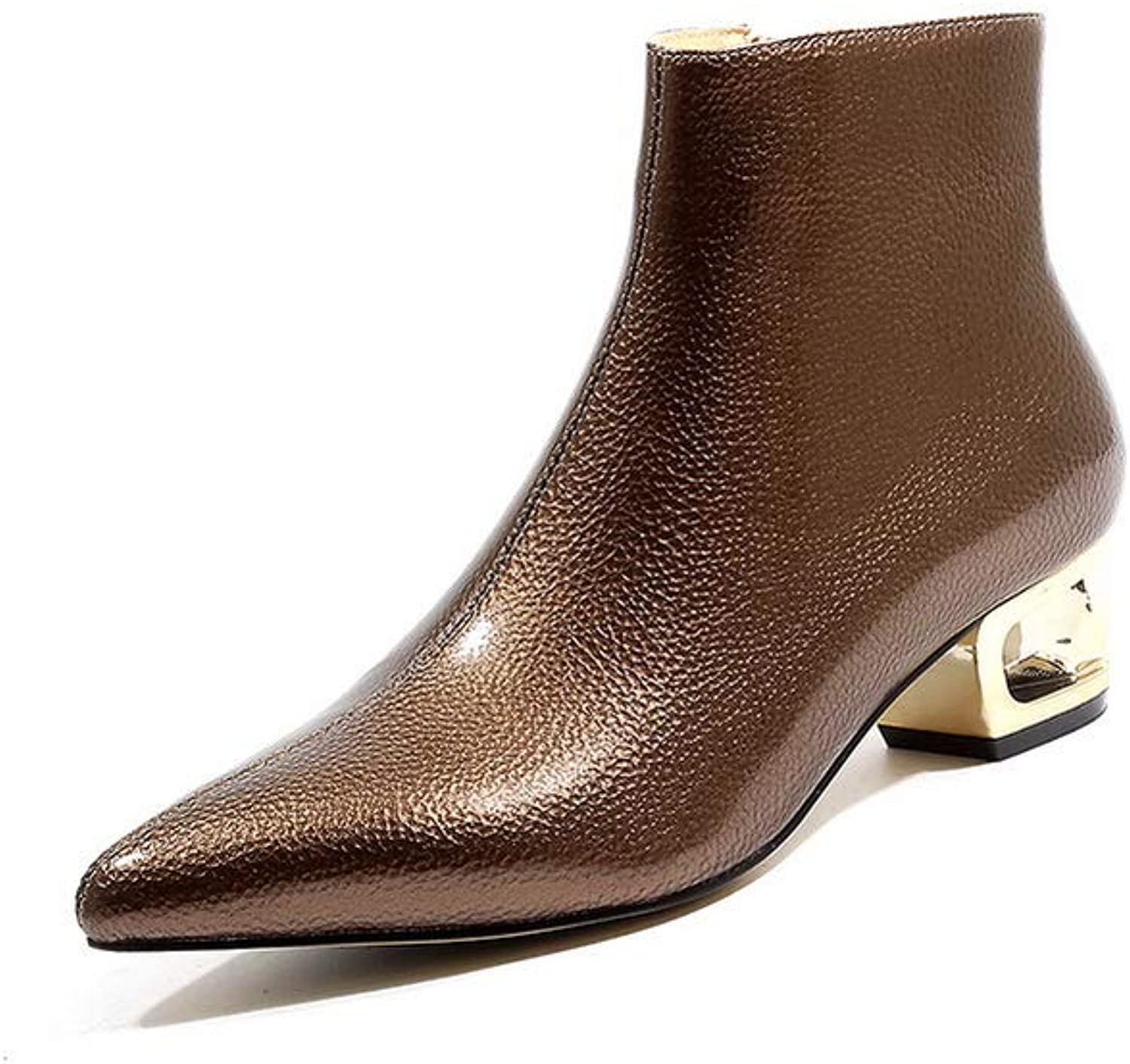 AdeeSu Womens Bucket-Style Fabric Leather Leather Boots SXE05211