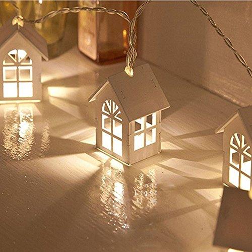 HUIHUI Lichterkette Außen, 10 LEDs Haus Lichterkette batteriebetrieben für Party, Garten, Weihnachten, Halloween, Hochzeit, Indoor & Outdoor Decor (Weiß 1, One Size)