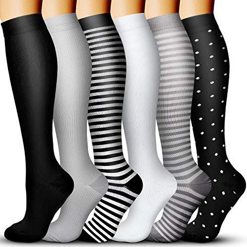 Compression Socks for Women & Men 15-20 mmHg, Best for Running, Athletic, Edema, Travel (Small/Medium, Black/White/Black/Gray/Black/White)