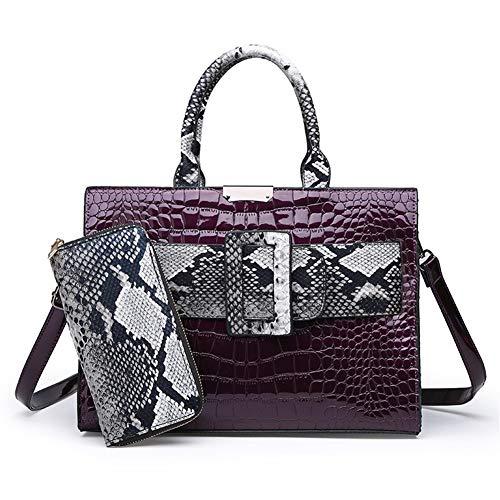 Ladies handbag color matching shoulder messenger bag two-piece fashion patent leather Vintage Handbag (Color : Purple)