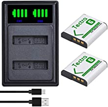 Tectra 2-Pack NP-BG1 NP-FG1 Battery and LED Dual USB Charger for Sony Cyber-Shot DSC-H7, DSC-H9, DSC-H10, DSC-H20, DSC-H50, DSC-H55, DSC-H70, DSC-H90, DSC-HX5V, DSC-HX9V, DSC-HX10V