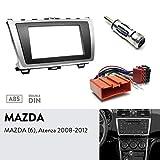 UGAR 08-011 Doppel DIN Radioblende Dash Installation Faszie Kit + Autoradio-Adapter + Radioantennen-Adapter für Mazda (6), Atenza 2008-2012