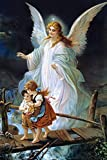 FDerks Jigsaw Puzzles 1000 Pieces Lindberg Heilige Schutzengel Guardian Angel and Children Crossing Bridge for Adults, Kids,Family Puzzles Educational Games