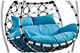 Thick Balcony Egg Nest Chair Pad,Oversized 2 Persons Seater Hanging Hammock Chair Cushion,Basket Swing Seat Mat for Patio Backyard Lawn Blue 150x110cm(59x43inch)