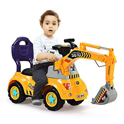 COSTWAY Excavadora con Pala y Asiento para Niños Vehículo de Construcción Toy Coche Juguete Grande para Playa