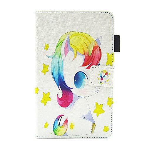 esstore-eu Tablet Ultra slim ligero multifunción funda de piel, con cierre de imán y función atril y función de encendido/apagado, color Cute Unicorn-4 Samsung Galaxy Tab A 7.0'/T280/T285