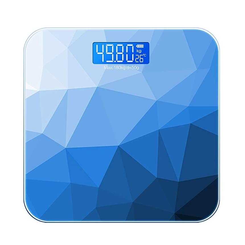 思い出させる落ち込んでいる作詞家家庭用成人精密コンパクト体重計、小型体重減少計充電モデル - 10.2×10.2×0.8インチ WJMYYX (Color : Blue)